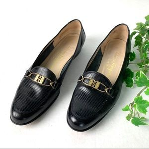 Salvatore Ferragamo Black Textured Flat 8 1/2 AA